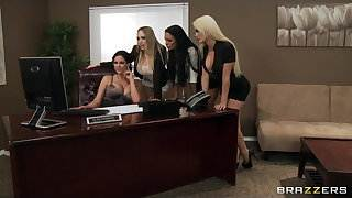 Four Hot big-boob office sluts fuck boss', big-dick in office
