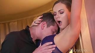 MOM Horny Milf Tina Kay gives footjob and hard fuck