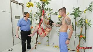 Hot babe tied up in tree like a monkey for brutal anal sex