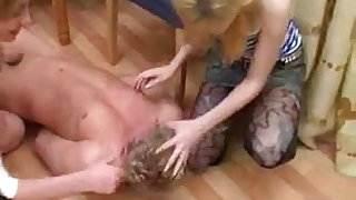 Two women fuck a young man