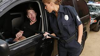 Latina officer caught on a guy jerking off in his car!