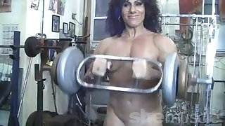 Annie Rivieccio Nude Female Bodybuilder in the Gym personal porn videos