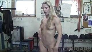 Muscular Mature Claire Fucks Huge Dildo In The Gym best couple porn videos