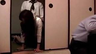 Japanese wife fucked next to husband
