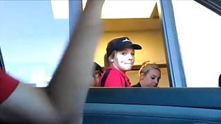 Drive through Girl sees bulge