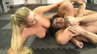 blonde goes after guys cock and balls