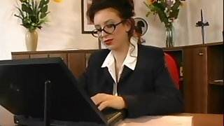 Beatrice busty secretary office sex sex with hot woman in satin dress video