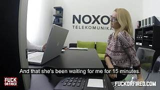 Horny blonde secretary fucks her boss in the office