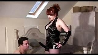 Mature Mistress Red slams her slaves asshole