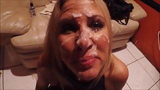 Cum on her face and body she leaves the glory hole
