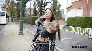 Eternal hooker in extreme 20cm high heels &amp, spandex skirt