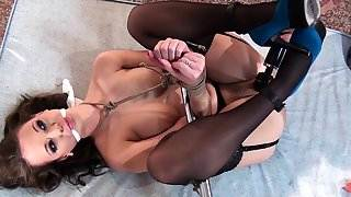 Nipple clamped sub spreadeagled for toying