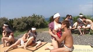 Japanese AV Models enjoy a nasty fuck session in group sex