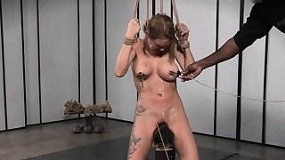 Bigtitted bdsm sub tiedup and clamped by dom