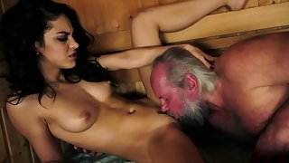 Young stunner pounded at a sauna by grandpa