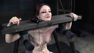 Strappado redhead sub gets beaten with stick