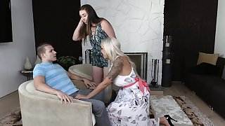 BadMILFS - Hot Mommy Fucks Step-Daughter and Boyfriend