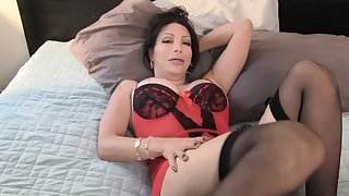Busty lingeried trans queen jerking till cum