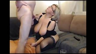 German gold BBW MILF anent stockings with the addition of cup-boy sucks with the addition of fucks