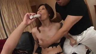 Naughty japanese mom gets DP by airliner1