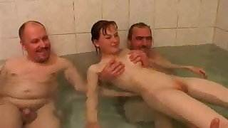 3 Friends fuck young girl
