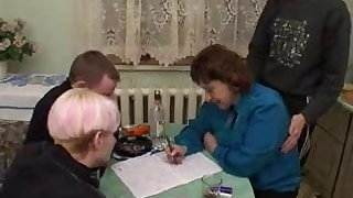 Russian Granny With 3 Boys 206