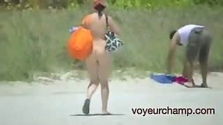 Wife Jerks Off Nude Beach Voyeur While Talking With Husband!